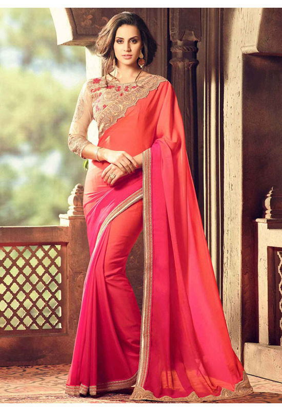 Party Wear Saree in Magenta  Color with Designer Blouse