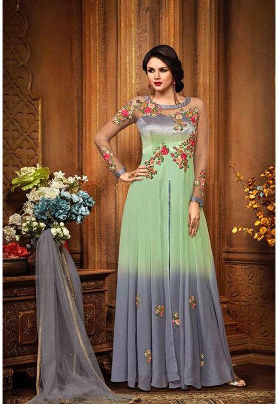Green Color Indowestern long Anarkali Gown Salwar Suit.