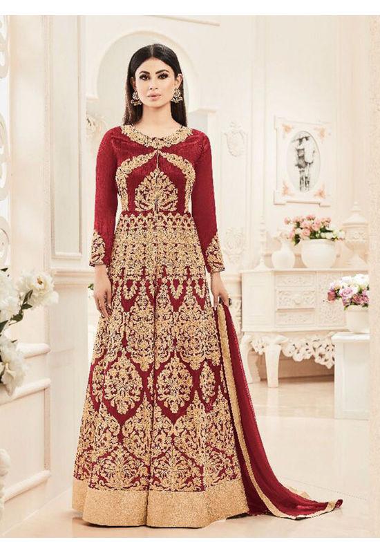 Red Color Designer Embroidered Georgette Anarkali suit