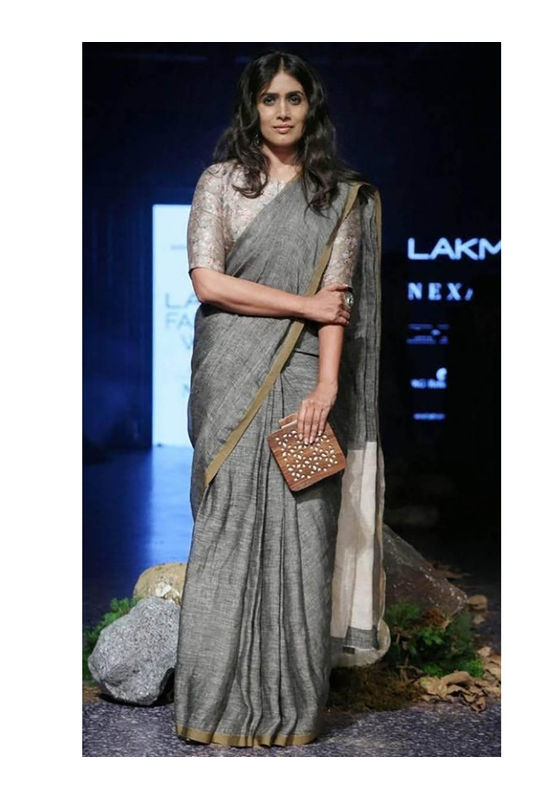 Pure Linen Silk Saree in Grey Color with  Zari