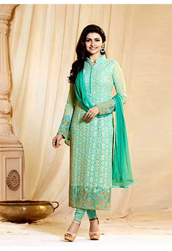 Prachi Desai Sea Green Georgette Churidar Salwar Kameez_1
