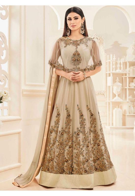 Mouni Roy Golden colour Net with Georgette Anarkali Suit