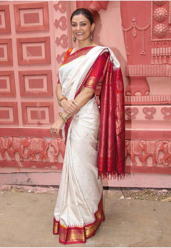 White Red Pure Kanjeevaram Silk Saree 100% Pure Silk