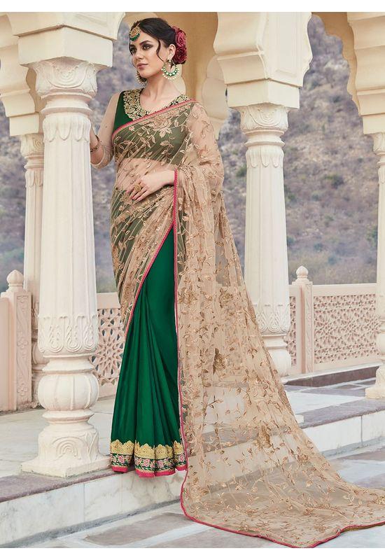 Green and Beige Party-wear Half-Half Designer Saree