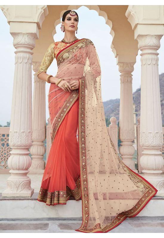 Coral Red and Cream Party-wear Half-Half Designer Saree