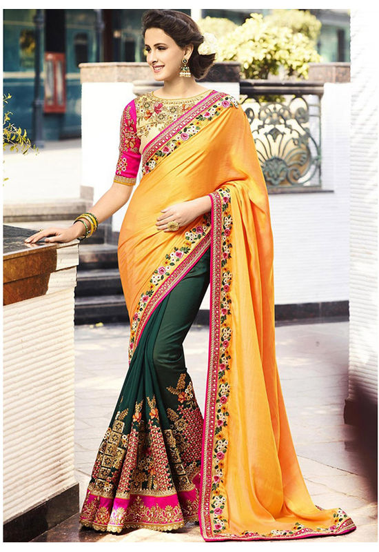 Yellow and Green Heavily Embroidered   Designer Designer Saree