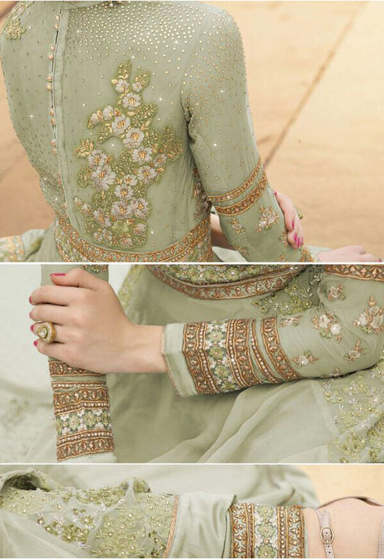 Semi Stitched Light Green  Georgette Embroidered Indowestern Anarkali