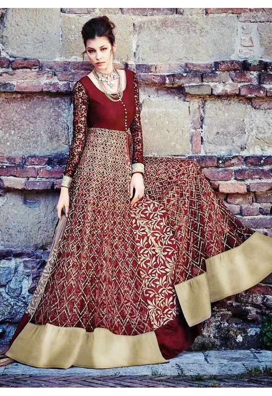Maroon Colour Long Net Gown Style Anarkali Dress