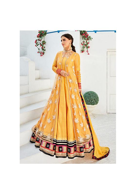 Long Yellow Party wear Anarkali Dress Suit
