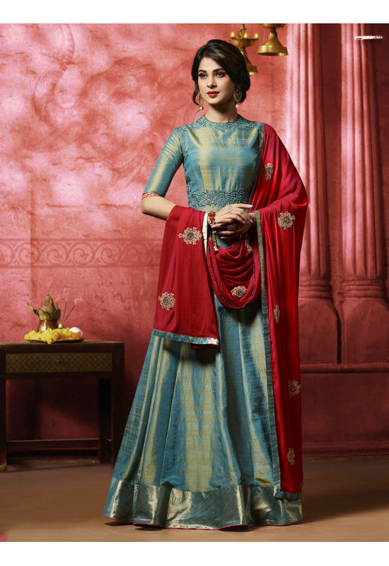 Jeniffer Winget in Teal Blue Long Anarkali Suit