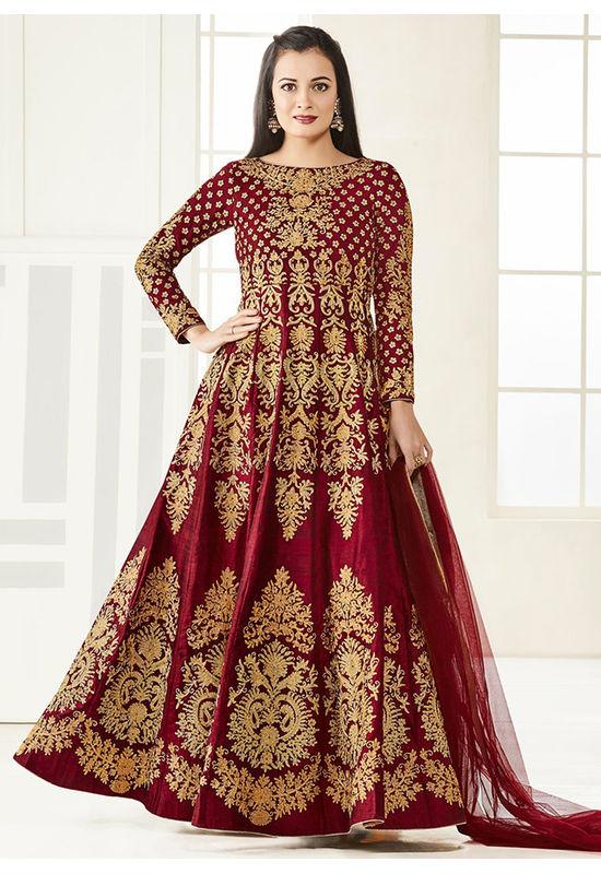 Diya Mirza in Maroon Color Zari Embroidered  Anarkali Salwar Suit