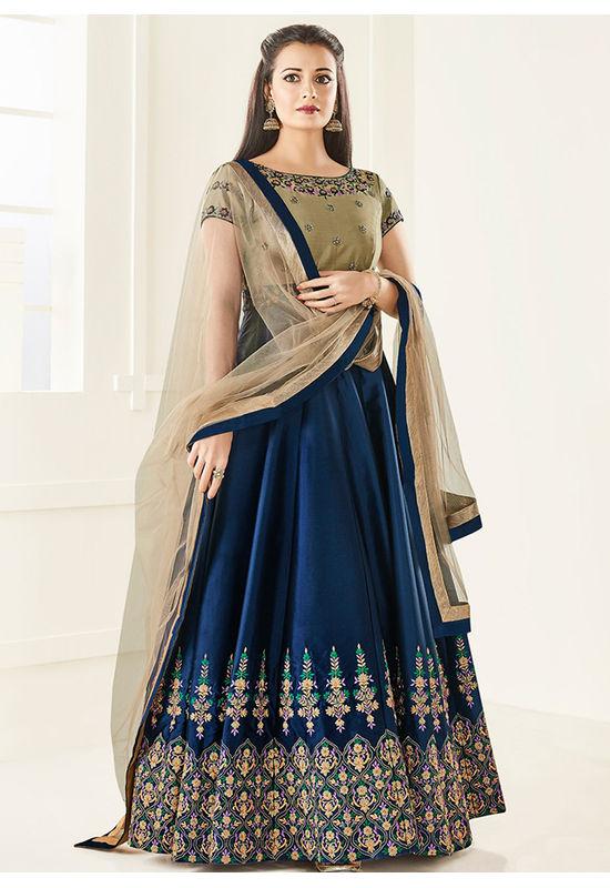 Diya Mirza in Navy Blue Embroidered  Long Anarkali Salwar Suit