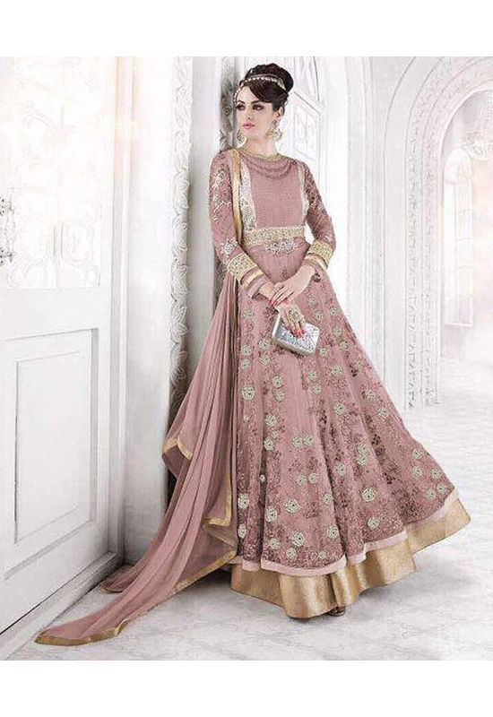 Pink Wedding Long Anarkali Suit with Embroidery