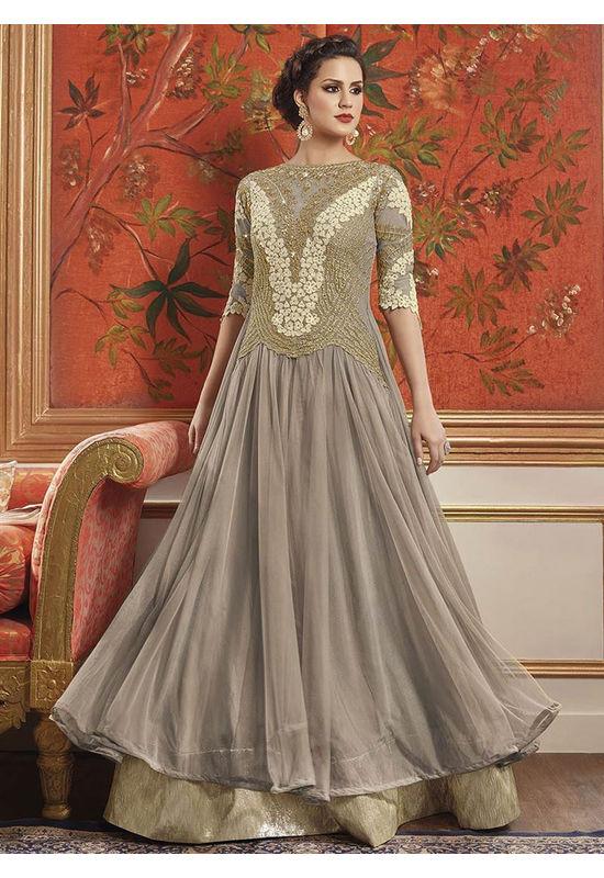 Ash Grey Net Layered Anarkali Suit