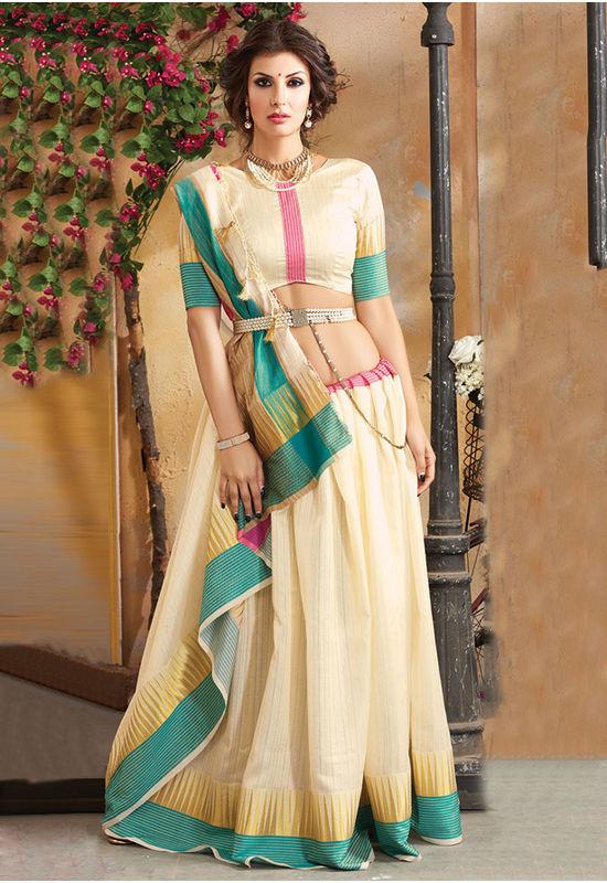 Woven Art Silk Saree in Beige _741