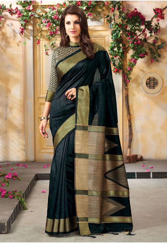 Woven Art Silk Saree in Black _764