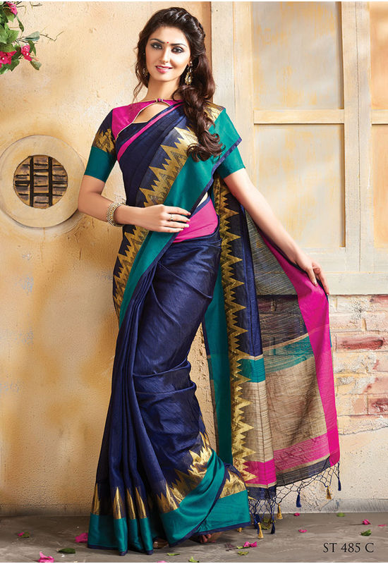 Woven Art Silk Saree in Dark Blue _763