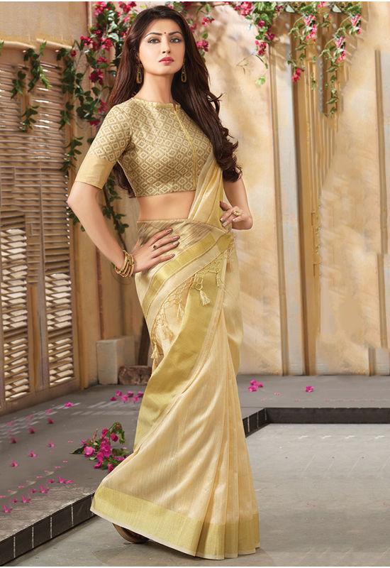 Woven Art Silk Saree in Golden _766
