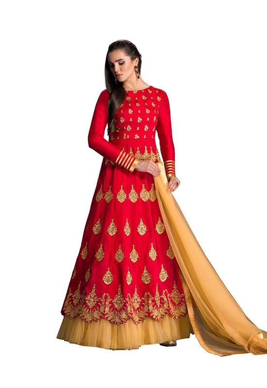 Red Long Anarkali Suit for Bride