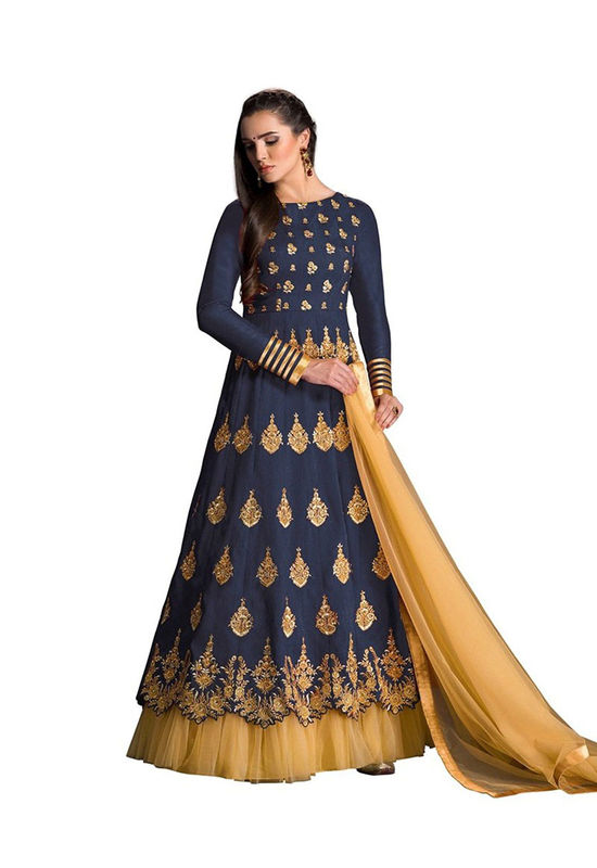 Blue Raw Silk Long  Anarkali Suit 17