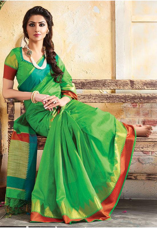 Woven Art Silk Saree in Light Green _759
