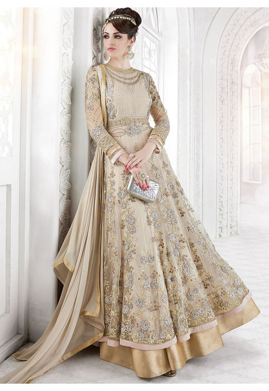 Designer Beige Net Long Anarkali 7209
