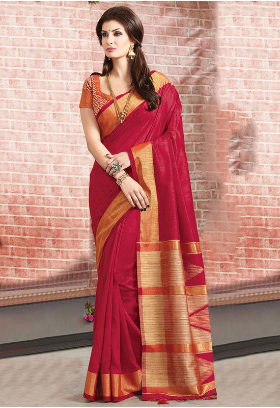 Woven Art Silk Saree in Maroon _765