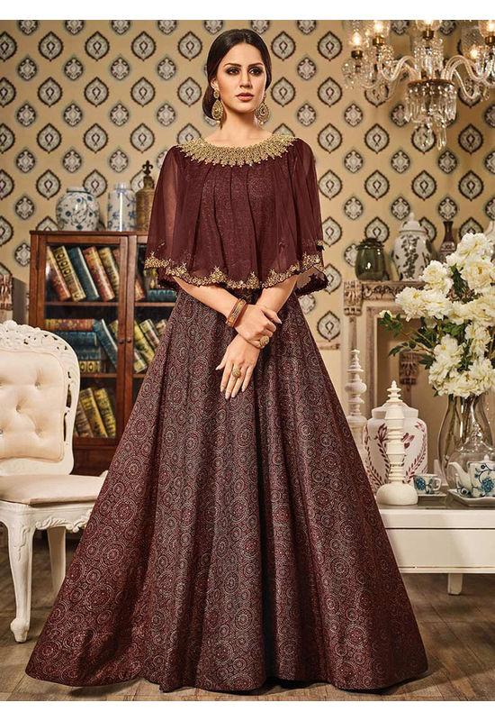 Cape Styled Maroon Art Silk Anarkali Suit