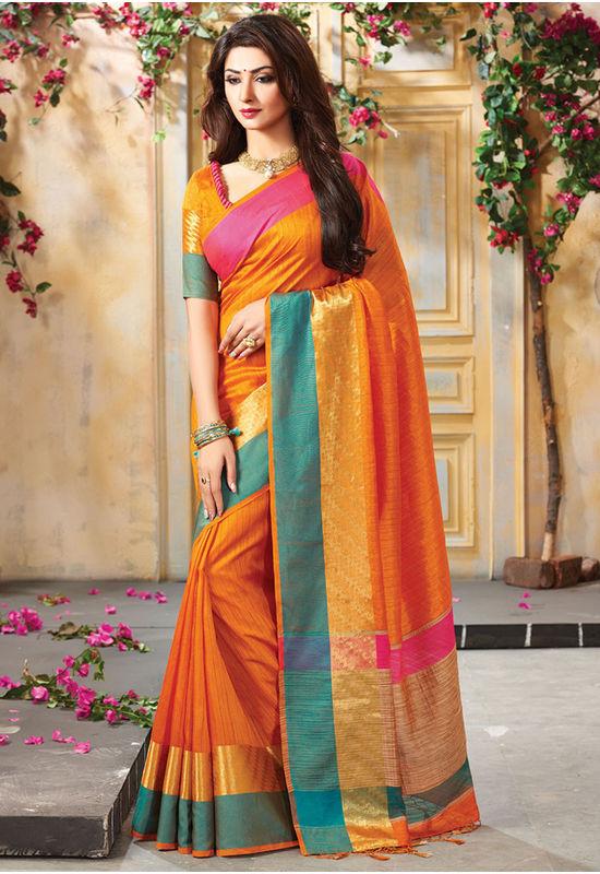Woven Art Silk Saree in Orange _744