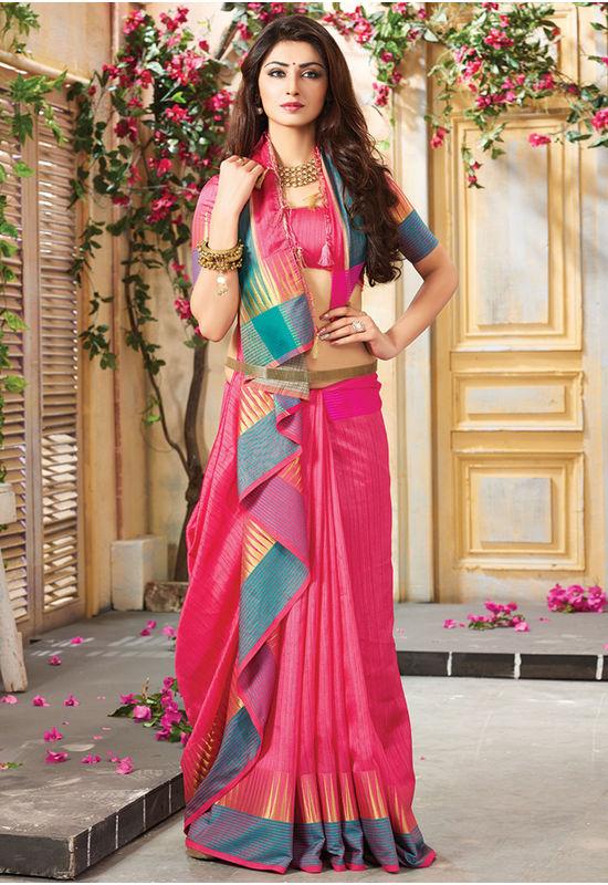 Woven Art Silk Saree in Pink _742