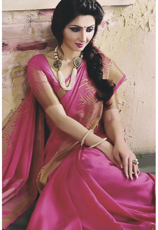 Woven Art Silk Saree in Pink _746