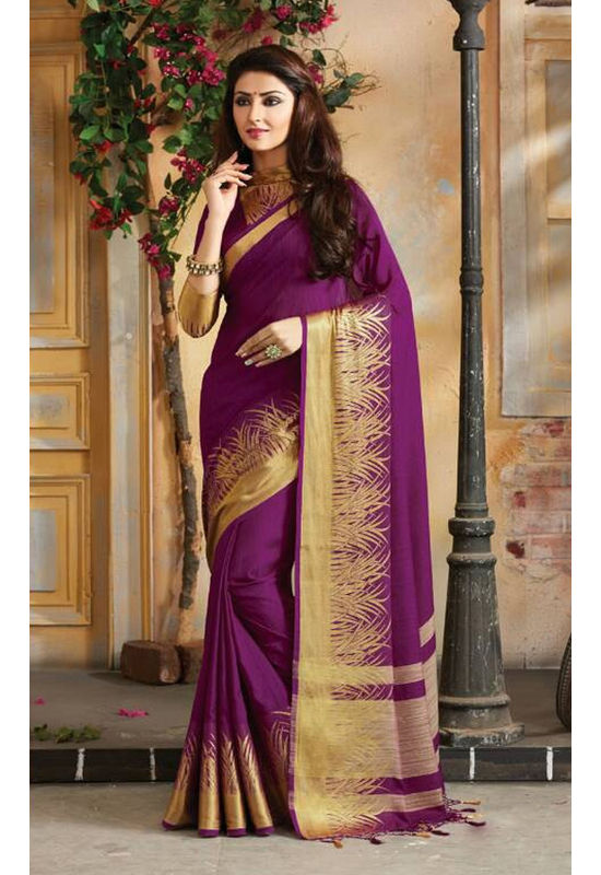Woven Art Silk Saree in Purple _740