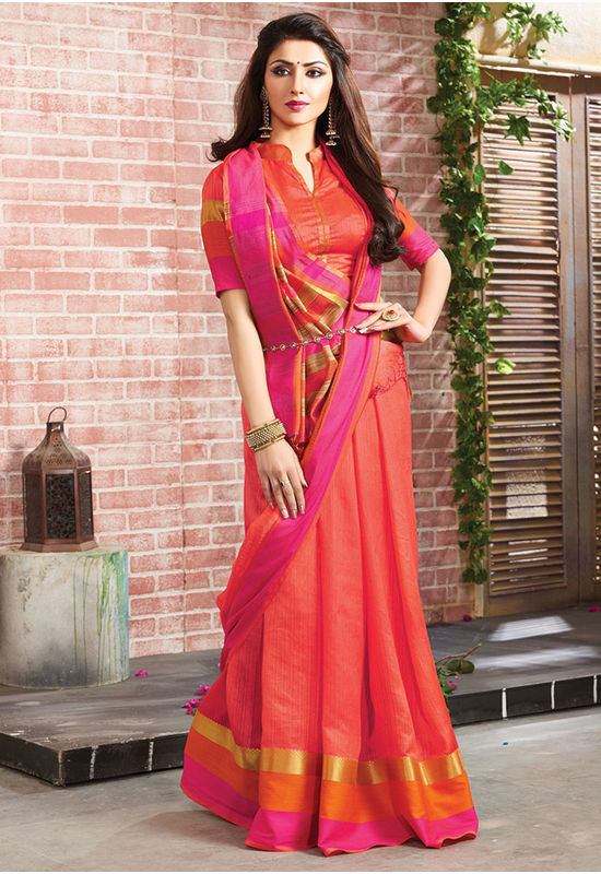 Woven Art Silk Saree in Red _754
