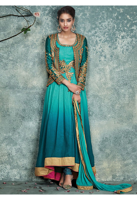 Sea Green Asymmetrical Anarkali