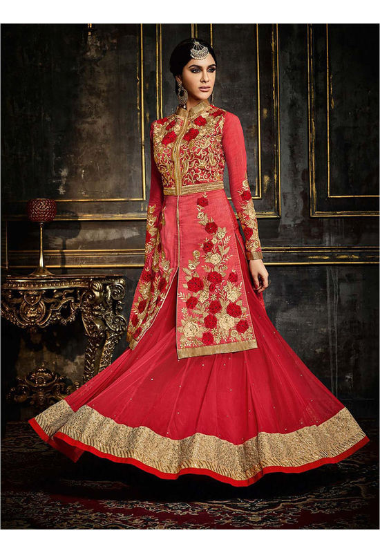 Red Silk Anarkali Suit with Embroidery