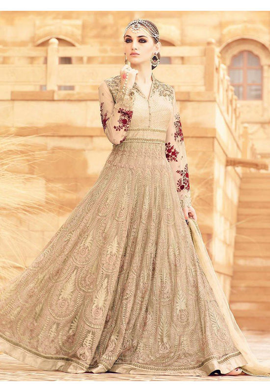 Beige Long Style Art Silk N Net Anarkali Suit_MOH2