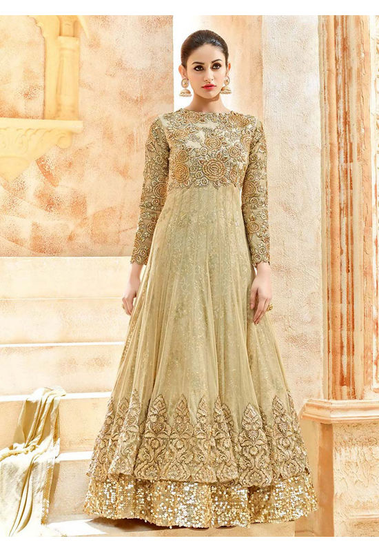 Beige Net Long Style Anarkali Suit Slscc7225 U