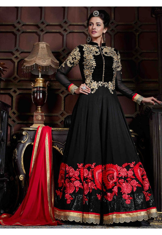 Black Anarkali with Red Floor Resham Embroidery