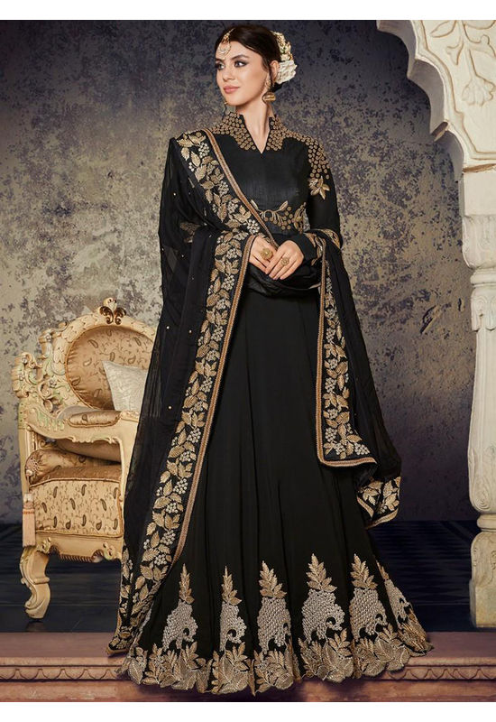 Black Embroidered Georgette Anarkali Full Sleeves 800x