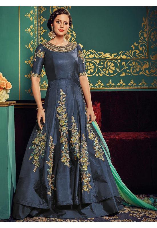 Blue Art Silk Long Style Anarkali Suit 800x