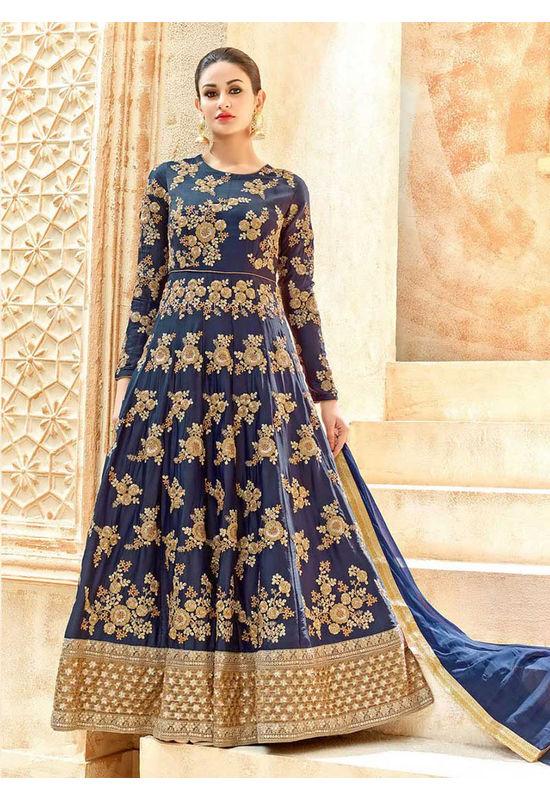 Blue Art Silk Long Style Anarkali Suit Slscc7221 U