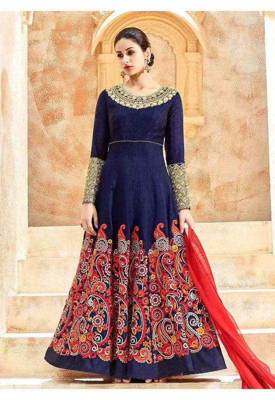 Blue Art Silk Long Style Anarkali Suit Slscc7224 U