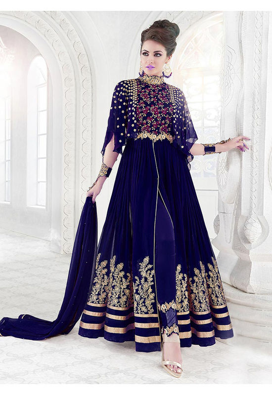 Blue Georgette Net Anarkali Suit with Open Slit
