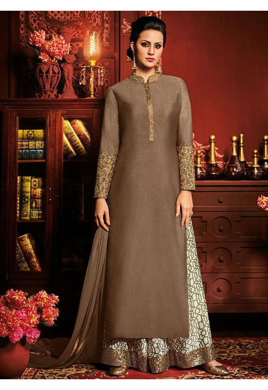 Brown color Art Silk Palazzo Salwar Kameez