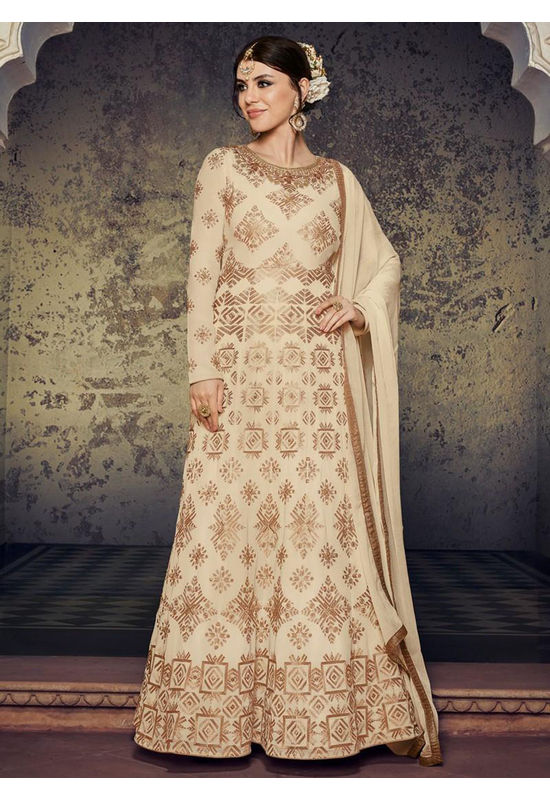Cream And Gold Embroidered Georgette Anarkali Full Sleeves 800x