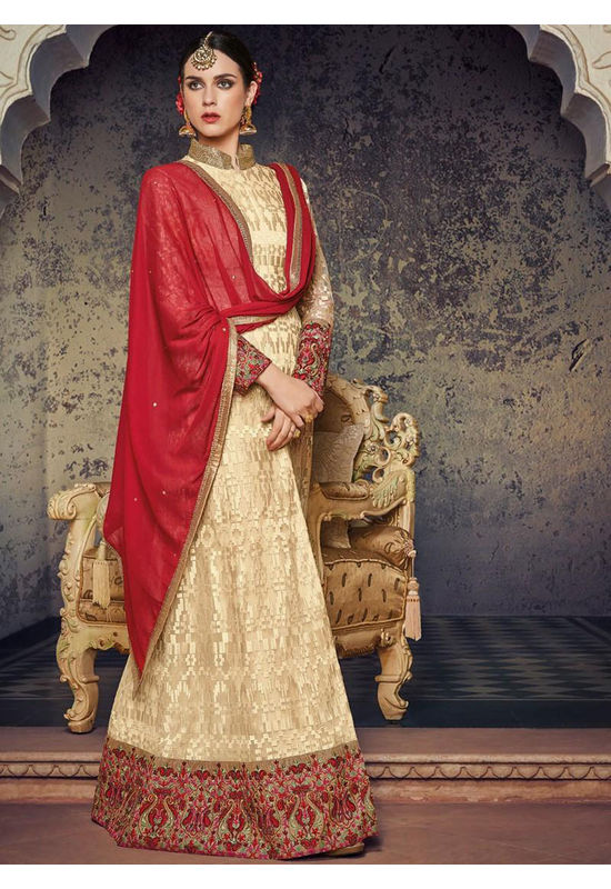 Cream And Red Embroidered Anarkali Suit 800x