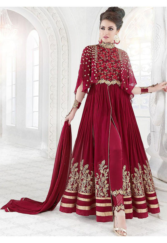 Deep Red And Gold Embroidered Georgette Anarkali Suit 800x