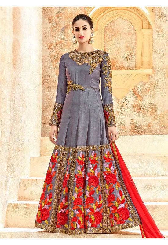 Greyish Blue Art Silk Long Style Anarkali Suit Slscc7226 U