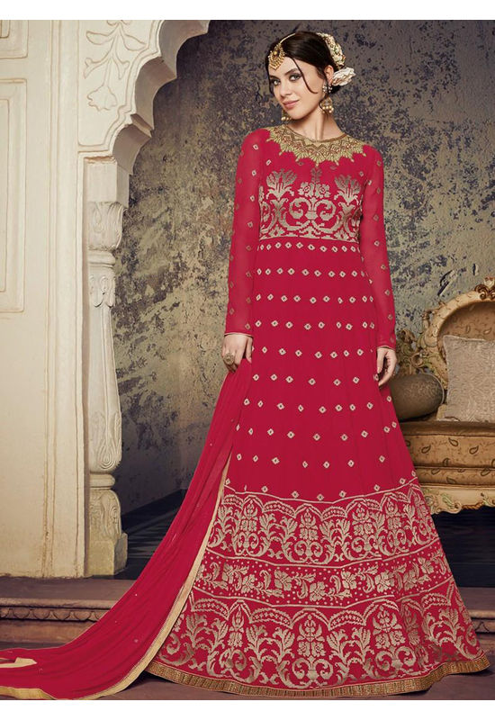 Hot Pink Embroidered Georgette Anarkali Full Sleeves 800x