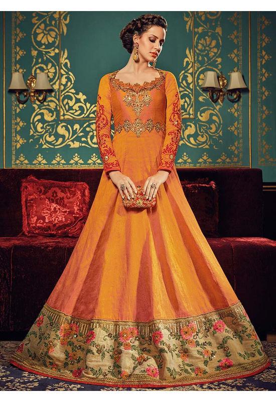 Orange Art Silk Long Style Anarkali Suit 2000x
